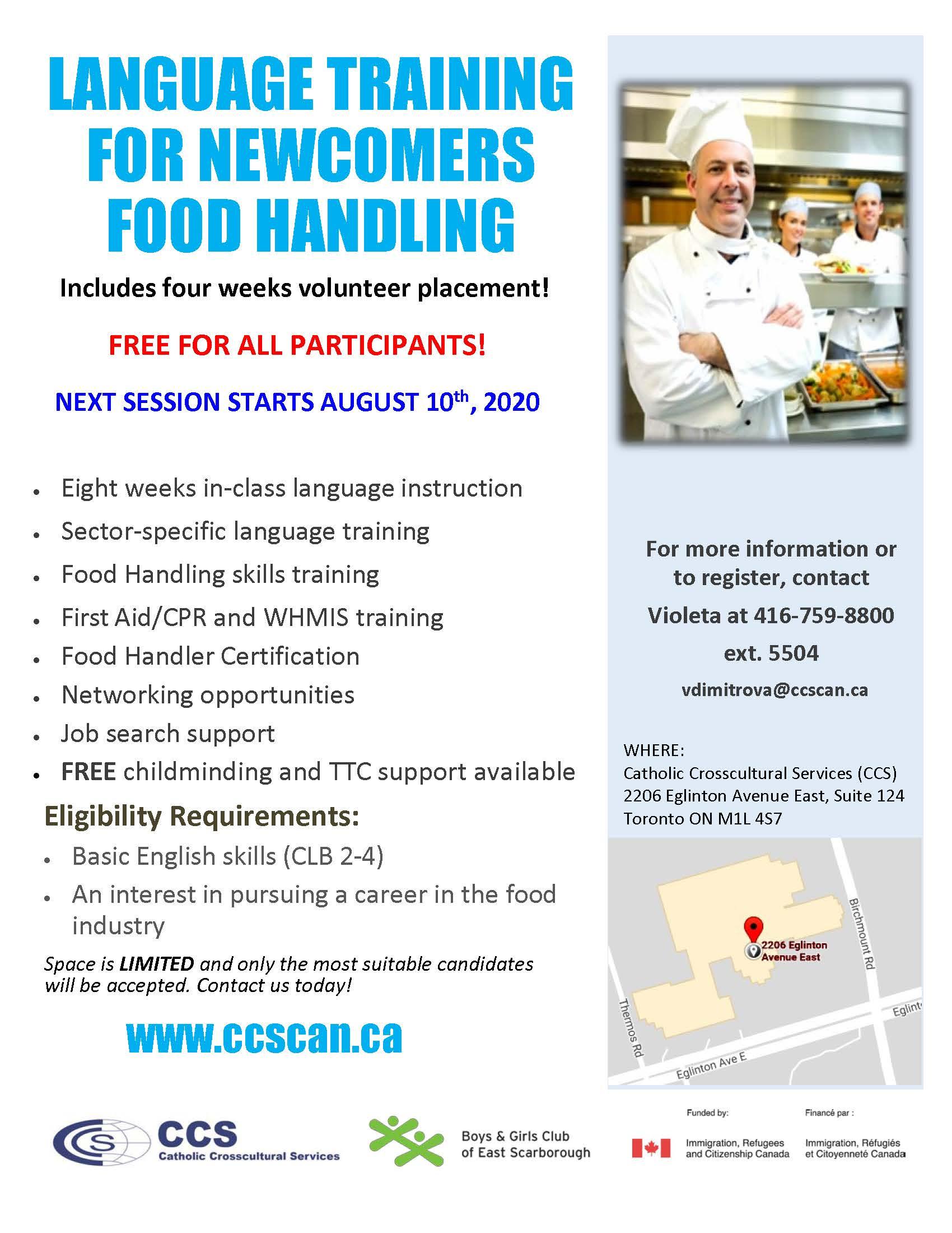 Language Training FoodHandling Flyer AUG 2020