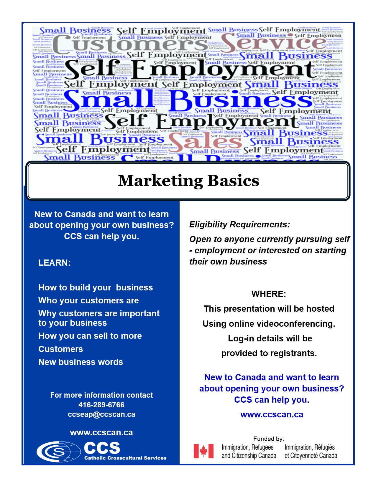 Marketing Basics flyer online Sept